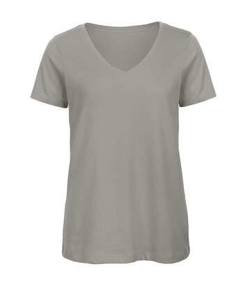 B&C Favourite - T-Shirt En Coton Bio À  Col V - Femme (Gris clair) - UTBC3642