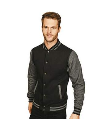 Casual Classic Mens Varsity Jacket (Black/Charcoal) - UTAB454