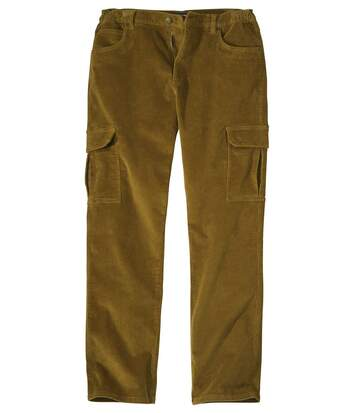 Men's Brown Corduroy Cargo Trousers