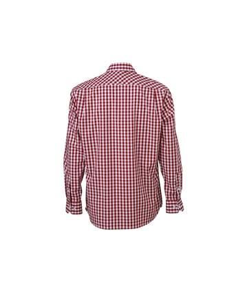 chemise manches longues carreaux vichy HOMME JN617 - rouge bordeau