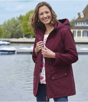 Women's Plum Parka With Padded Hood
