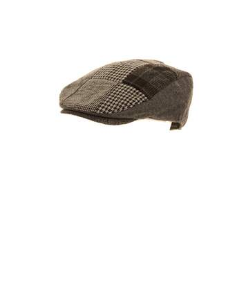 Mens Patchwork Winter Flat Cap With Wool (Grey) - UTHA254