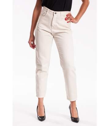 Jeans coupe mom coton TAVOLA rose
