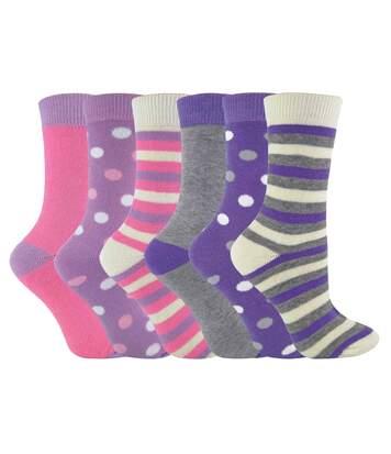 6 Pk Womens Mid Calf Striped Crew Cotton Socks