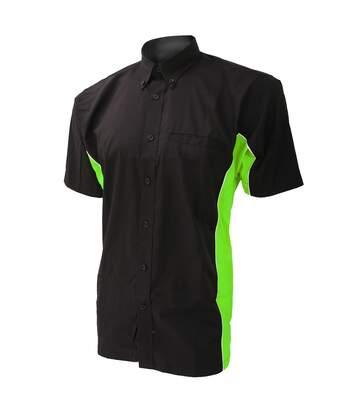 Gamegear Mens Sportsman Short Sleeve Shirt / Mens Sportswear (Black/Lime/White) - UTBC410