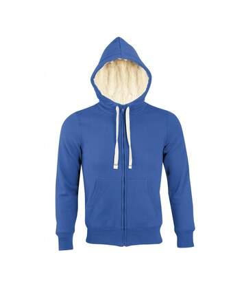 Sweat shirt capuche zippé doublé fourrure sherpa - 00584 - bleu roi