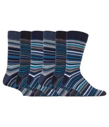 Mens 6 Pk colourful striped Dress cotton socks