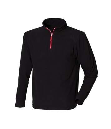 Finden & Hales Mens 1/4 Zip Long Sleeve Piped Fleece Top (Black/Red) - UTRW439