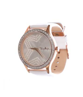 Montre analogique blanche/rose gold femme Thierry Mugler