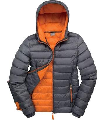 Veste matelassée - doudoune femme R194F - gris et orange