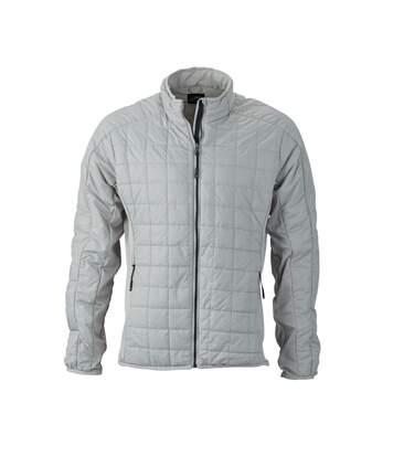 Veste hybride molletonnée - JN1116 - gris argent - Doudoune Homme