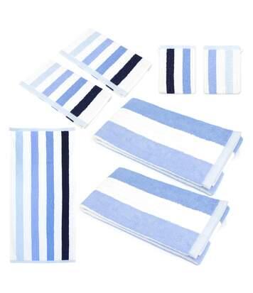 Parure de bain 7 pièces CLASSIC STRIPES Bleu 480 g/m2