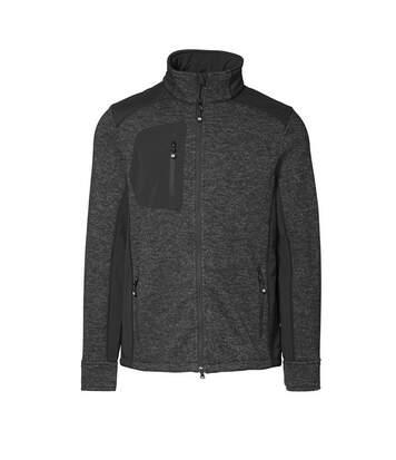 ID Mens Knit Fleece Full Zip Regular Fitting Long Sleeve Melange Sweatshirt (Anthracite melange) - UTID303
