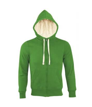 Sweat shirt capuche zippé doublé fourrure sherpa - 00584 - vert