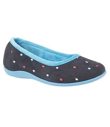 Sleepers Womens/Ladies Isla Dotted Ballerina Memory Foam Slippers (Blue/Turquoise) - UTDF1308