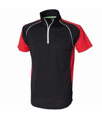 Tombo Teamsport Mens Panel Zip Neck Sports Polo Shirt (Red/White/Navy) - UTRW1566