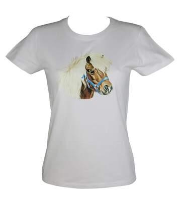 T-shirt femme manches courtes - poney shetland 11269 - blanc