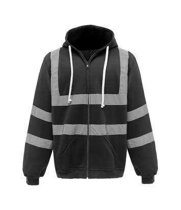 Yoko Mens Hi Visibility Full Zip Reflective Work Hoodie (Black) - UTRW5256