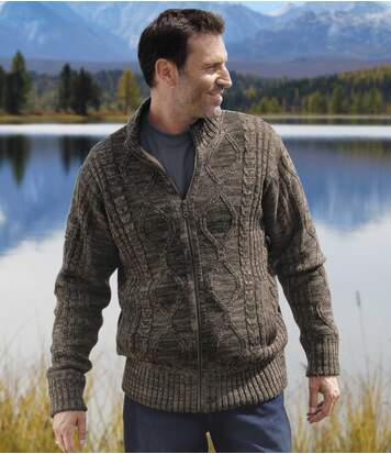 Men's Brown Fleece-Lined Knitted Jacket - Full Zip