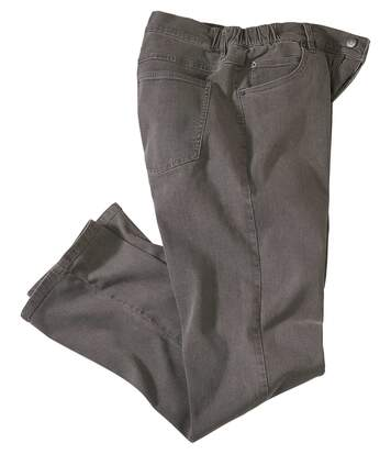 Men's Grey Regular Stretch Jeans - Semi-Elasticated Waist