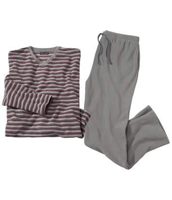 Grauer Pyjama aus Microfleece mit Streifen