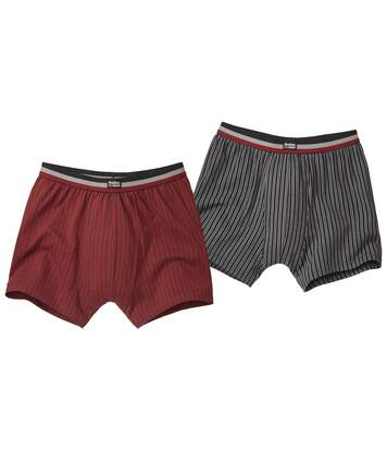 Pack of 2 Striped Boxer Shorts - Burgundy Black