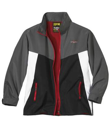 Men's Sporty Full Zip Windbreaker - Water-Repellent - Foldaway Hood - Grey White Black