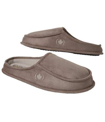 Men's Tan Faux Suede And Sherpa Slippers