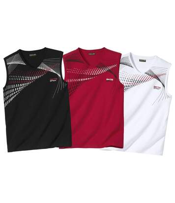 Pack of 3 Men's Sports Vests - Black Red White