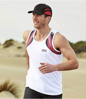 Men's Pack of 3 Sports Vests - Red, Black, White