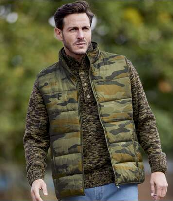 Men's Camouflage Water-Repellent Padded Bodywarmer - Full Zip