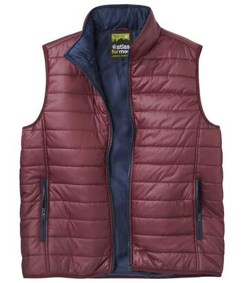 Men's Burgundy Full Zip Padded Gilet - Water-Repellent