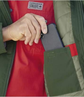 Men's Khaki Water-Repellent Multi-Pocket Parka