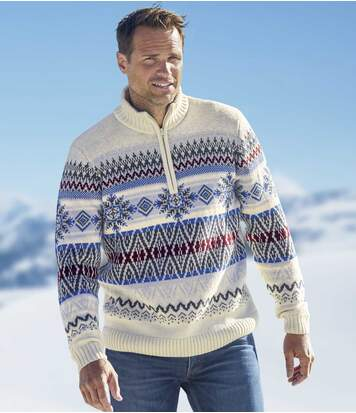 Men's Ecru Winter Jumper - Half Zip