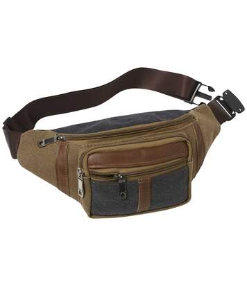Men's Brown Multi-Pocket Bumbag