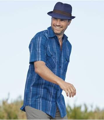 Kostkovaná popelínová košile Azur