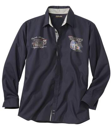 Granatowa popelinowa koszula