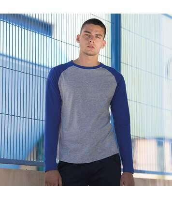 Skinnifit Mens Raglan Long Sleeve Baseball T-Shirt (Heather Grey / Royal) - UTRW4742