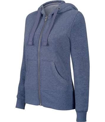 Sweat-shirt zippé capuche mélange femme