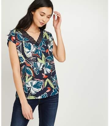 T-shirt bimatières fleuri femme