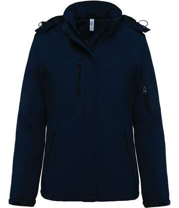 Parka softshell matelassée à capuche - K651 - femme - bleu marine
