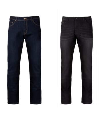 Lot 2 pantalons jean pour homme - noir et bleu
