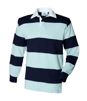 Front Row Sewn Stripe Long Sleeve Sports Rugby Polo Shirt (Duck Egg/Navy) - UTRW476