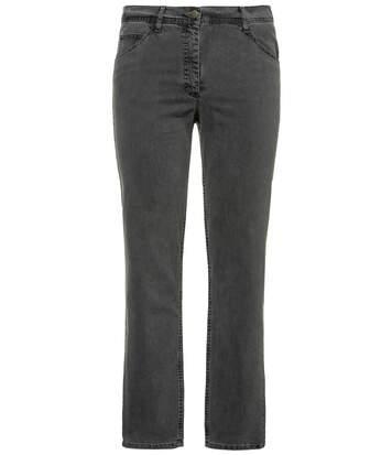 ULLA POPKEN Jeans straight leg stretch denim 5-pocket PURE grey denim NEW