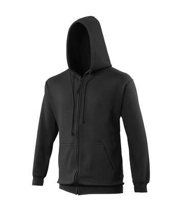 Awdis Plain Mens Hooded Full Zip Hoodie / Zoodie (Jet Black) - UTRW180