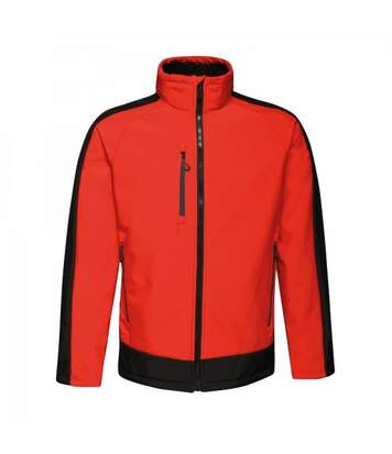 Regatta Mens Contrast 3 Layer Softshell Full Zip Jacket (Orient Red/Jet Black) - UTRG3747