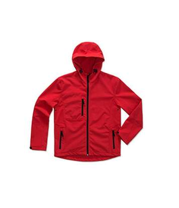 Stedman Mens Active Softest Shell Hooded Jacket (Crimson Red) - UTAB308