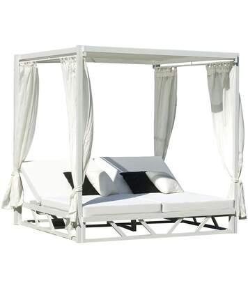 Bain de soleil double en aluminium avec rideaux Abalia
