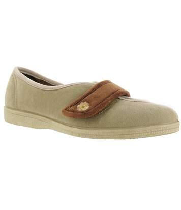 Mirak Andrea Touch Fastening Slipper / Womens Slippers / Ladies Slippers (Beige) - UTFS1337
