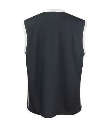 Spiro Mens Basketball Quick Dry Sleeveless Top (Black / White) - UTRW4778